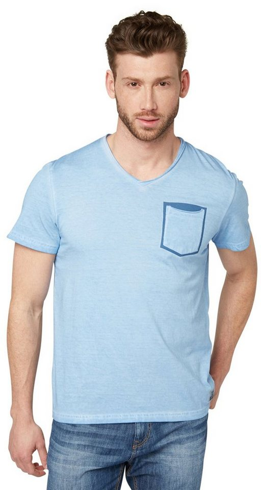 TOM TAILOR T-Shirt »T-Shirt mit Waschung im Used-Look« in frosty light blue