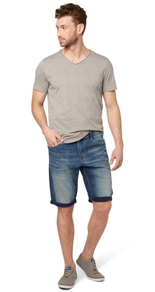 TOM TAILOR Shorts »Used-Jeans in Bermuda-Länge« in mid stone wash denim