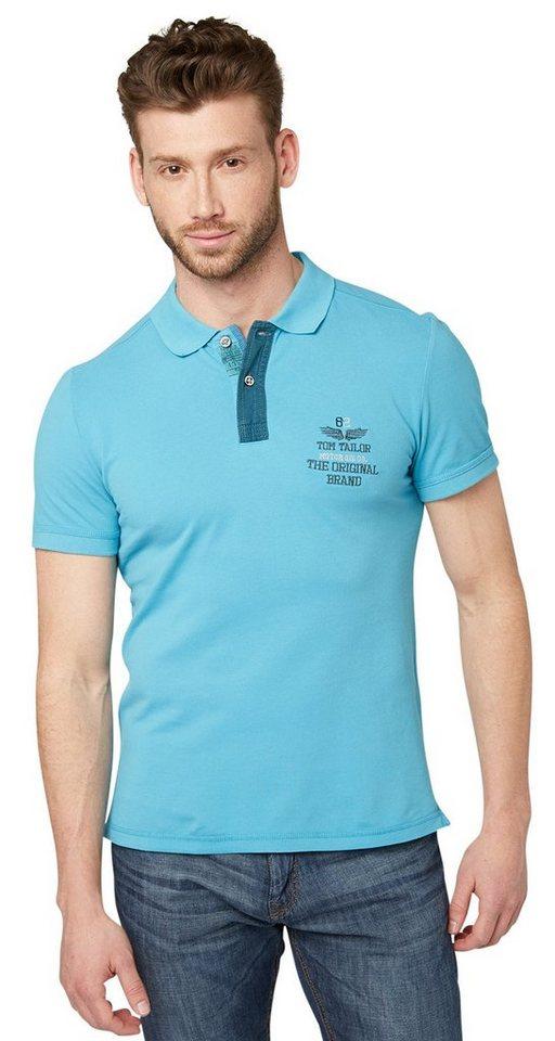 TOM TAILOR Poloshirt »Polo-Shirt mit Stickerei« in coastal blue