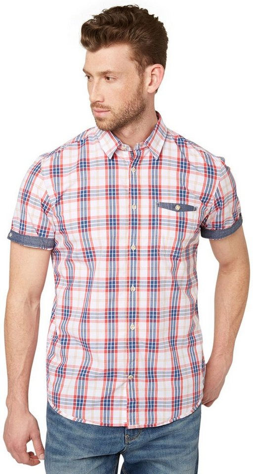 TOM TAILOR Hemd »kariertes Hemd mit Jeans-Detail« in white