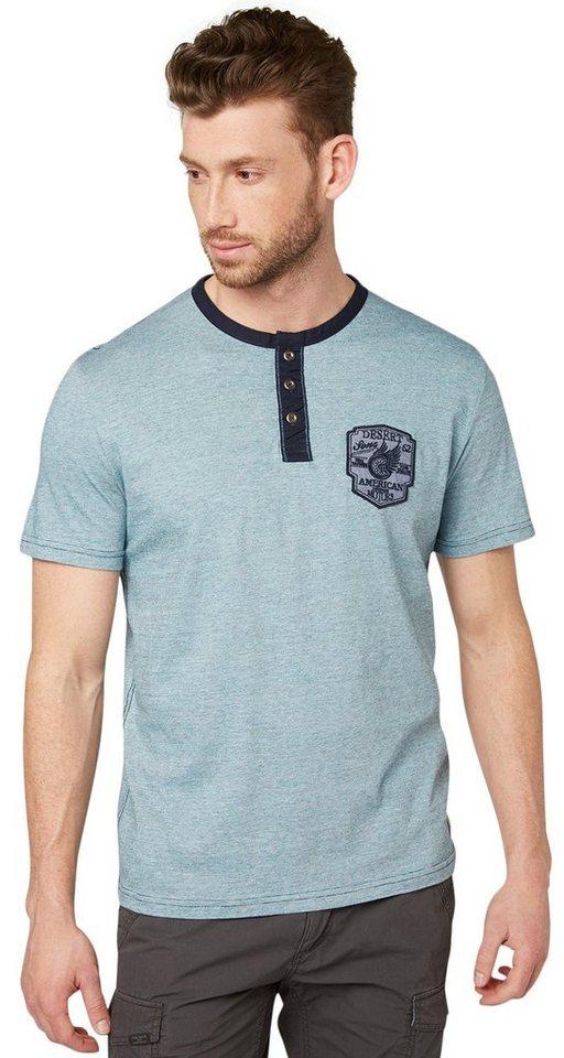 TOM TAILOR T-Shirt »gestreiftes Henley-Shirt mit Patch« in coastal blue