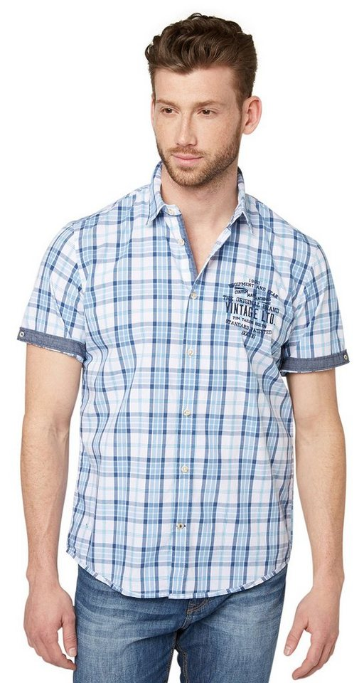TOM TAILOR Hemd »kariertes Hemd mit Jeans-Detail« in hazy blue