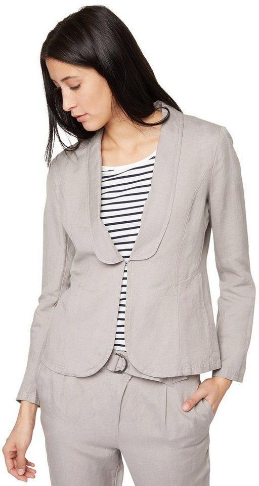 TOM TAILOR Blazer »dyed linen mix blazer« in light frost grey