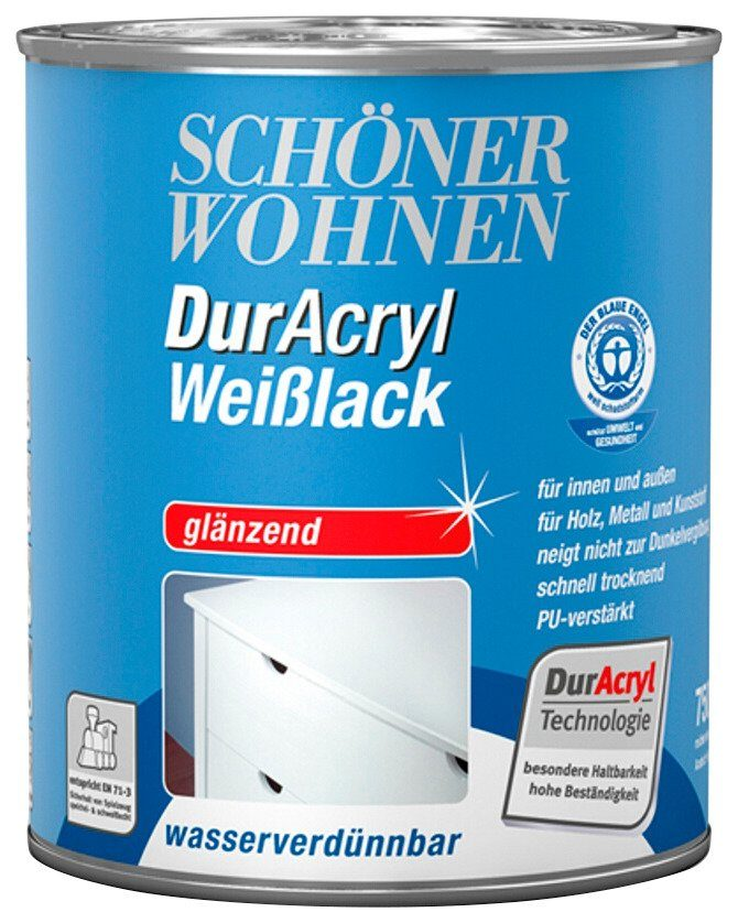 Weißlack »DurAcryl glänzend, 2,5 L«