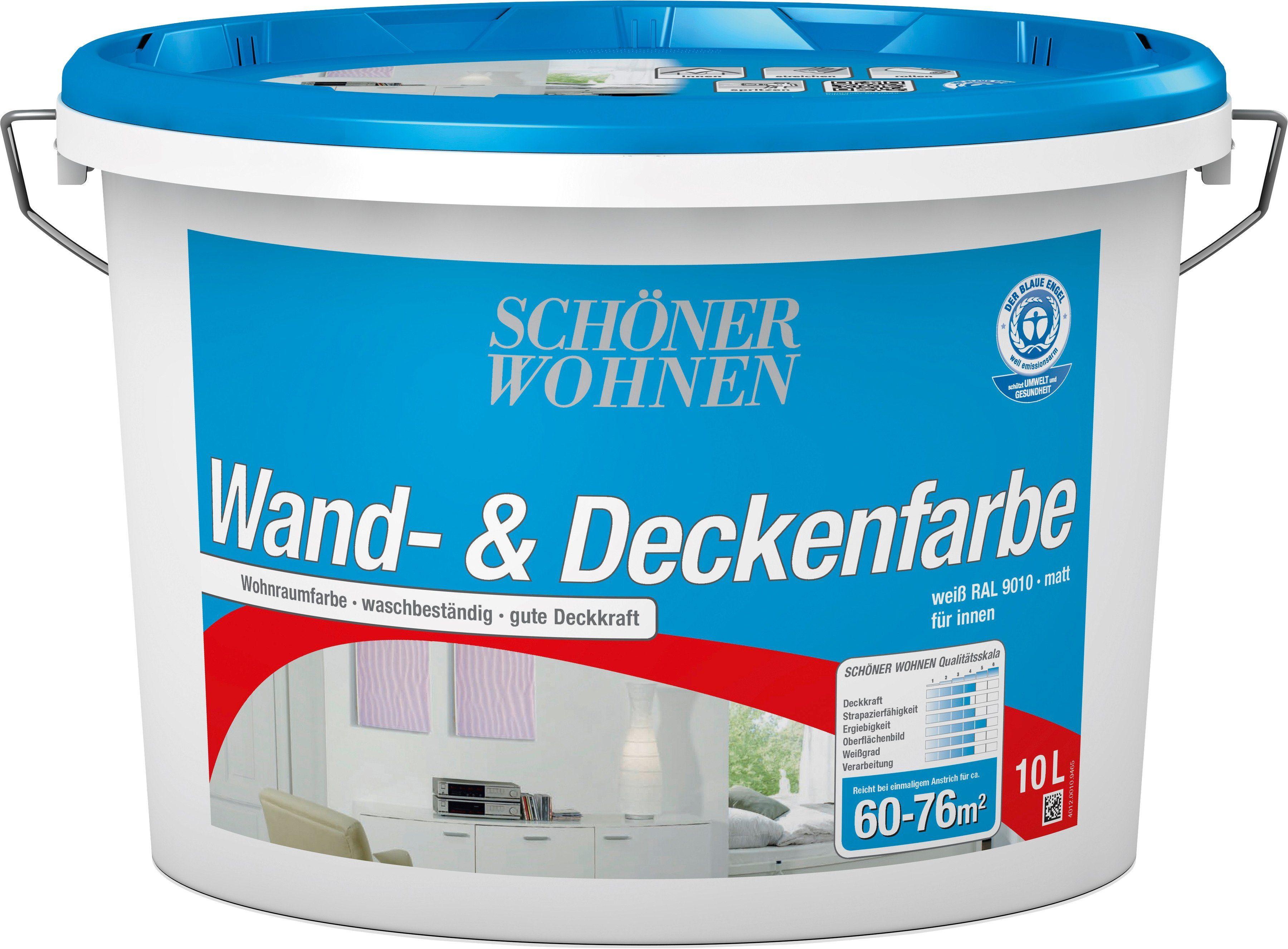 SCHÖNER WOHNEN FARBE Innenfarbe »Wand- und Deckenfarbe 10,0L weiss DIN EN 13 300«