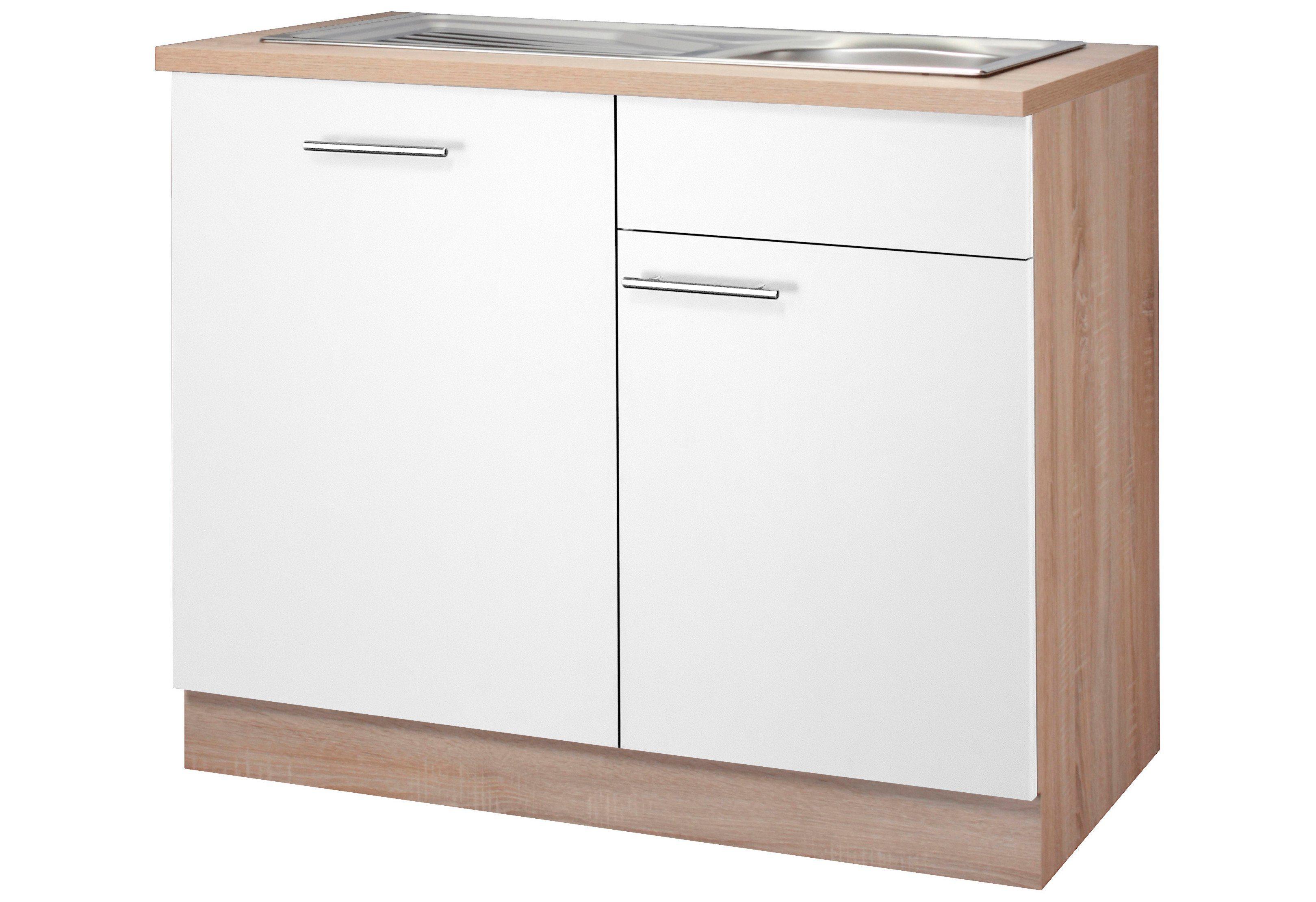Wiho Küchen Spülenschrank »Montana, Breite 110 cm « | Küche und Esszimmer > Küchenschränke > Spülenschränke | Anthrazit - Bordeaux - Weiß | Spanplatte | wiho Küchen