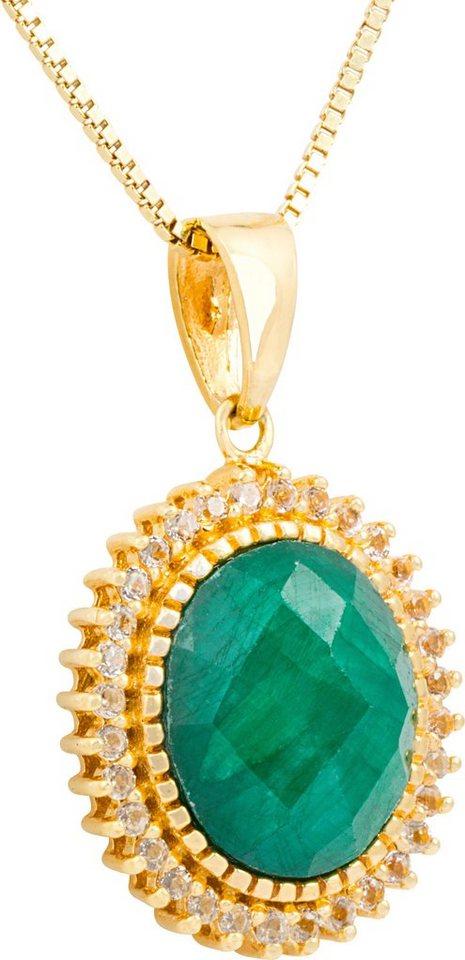vivance jewels Kette mit Anhänger mit Korund und Topasen in Silber 925-goldfarben vergoldet-grün
