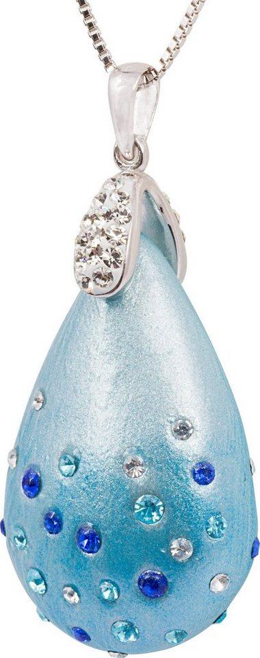 firetti Kette mit Anhänger mit Kristallsteinen, »Tropfen« in Silber 925-blau-weiß