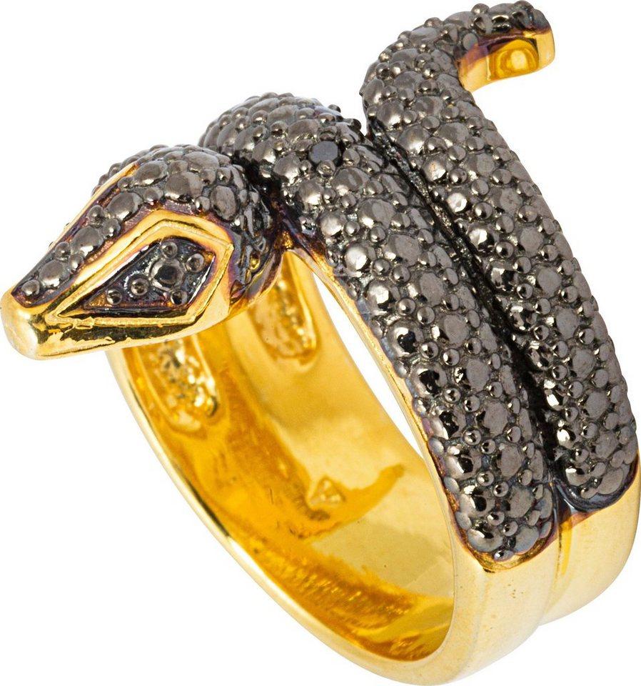 vivance jewels Ring mit Diamant, »Schlange« in Silber 925-goldfarben vergoldet-schwarz