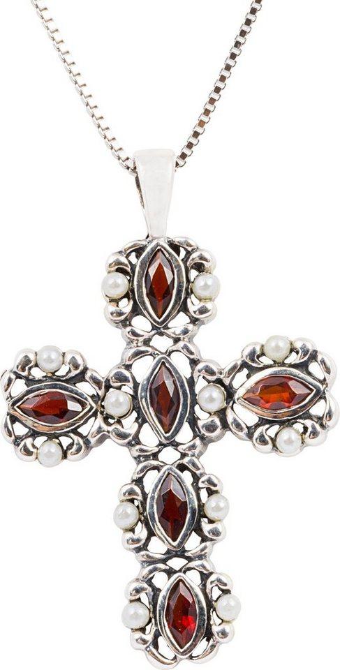 firetti Kette mit Anhänger. mit Granat und Perlen, »Kreuz« in Silber 925-rot-weiß