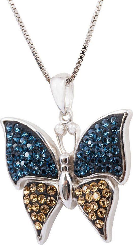 firetti Kette mit Anhänger, mit Swarovski® Kristallen, »Schmetterling« in Silber 925-blau-braun