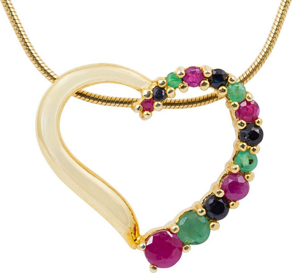 vivance jewels Kette mit Anhänger mit Rubinen, Saphiren und Smaragden, »Herz« in Silber 925-goldfarben vergoldet-rot-schwarz-grün
