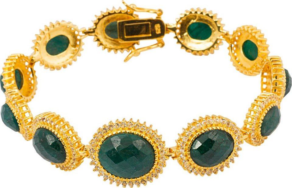 vivance jewels mit Korunden und Topasen in Silber 925-goldfarben vergoldet-grün