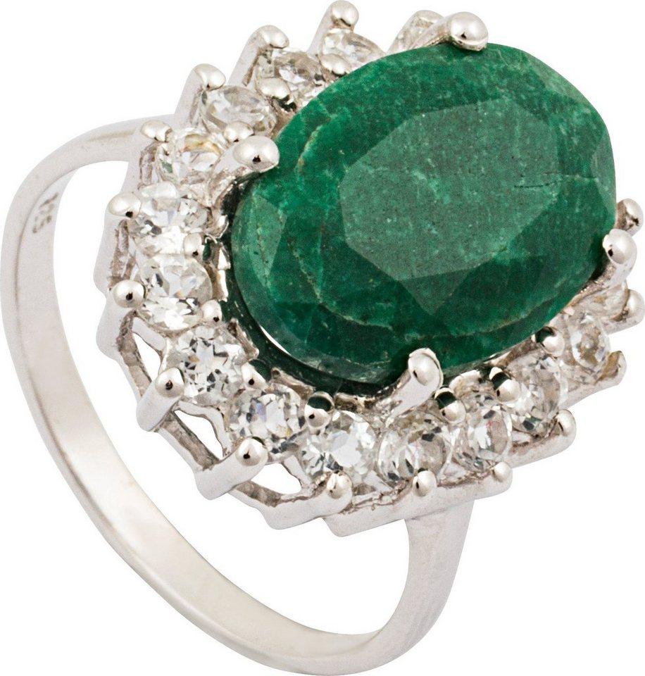 vivance jewels Ring mit Smaragd und Topasen in Silber 925-grün