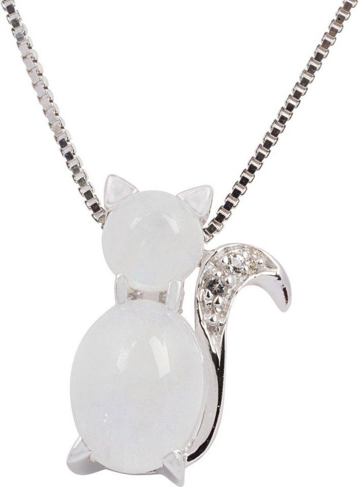 firetti Kette mit Anhänger mit Mondsteinen und Topasen, »Katze« in Silber 925-weiß
