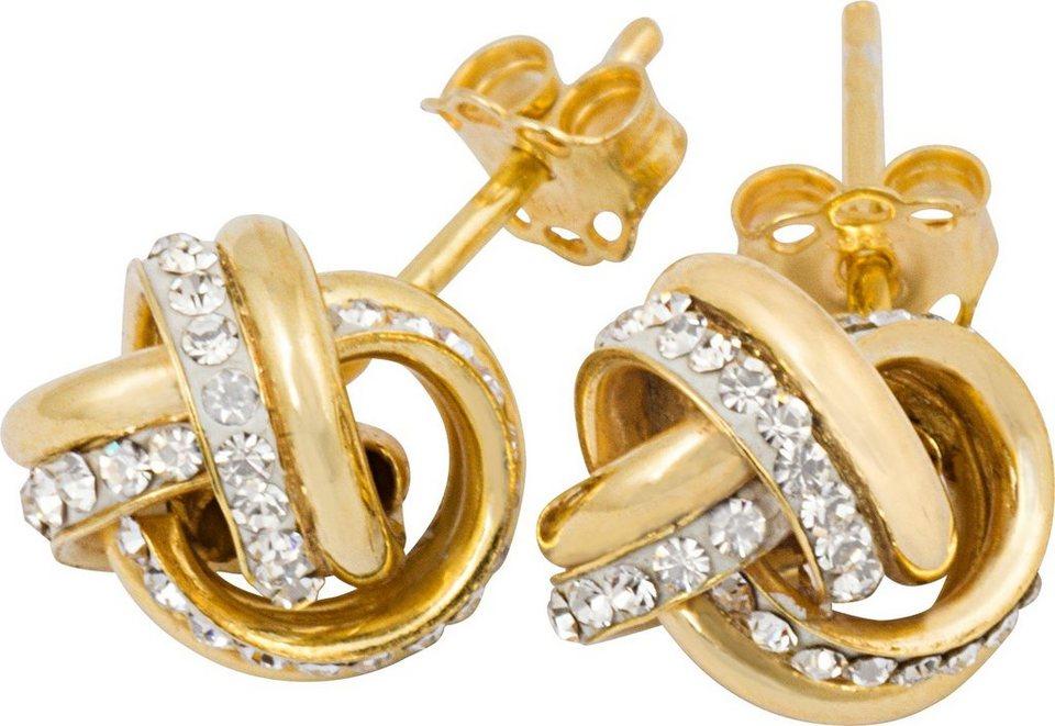 firetti Paar Ohrstecker mit Swarovski® Kristallen in Silber 925-Vergoldet
