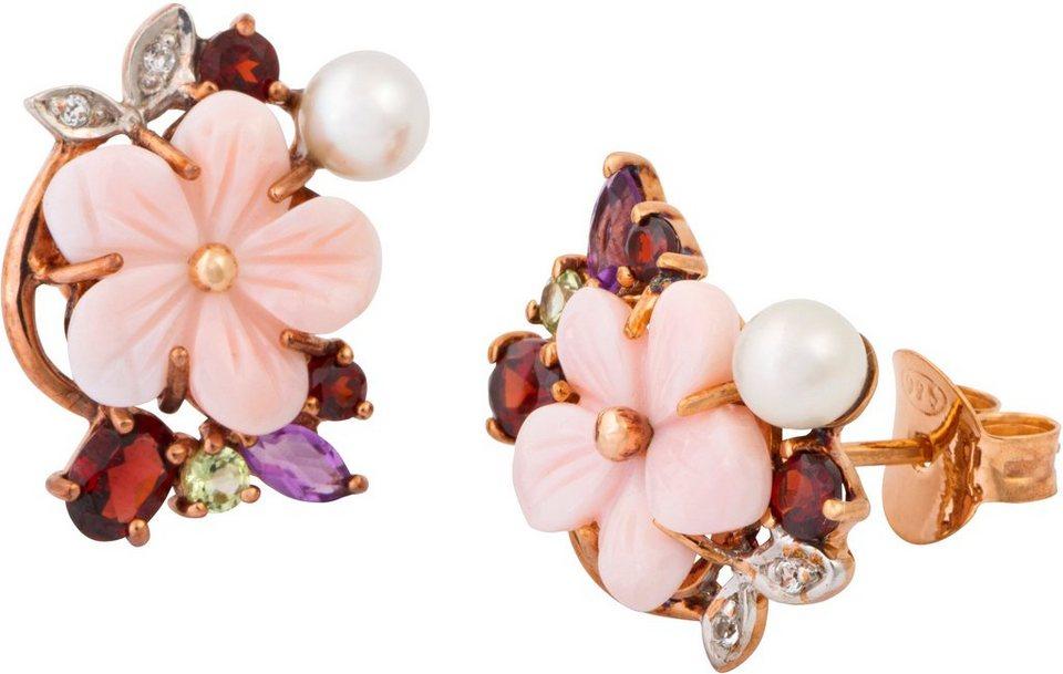 vivance jewels Paar Ohrstecker mit Süßwasserzuchtperlen und Muschelschalen, »Blume« in Silber 925-roséfarben vergoldet