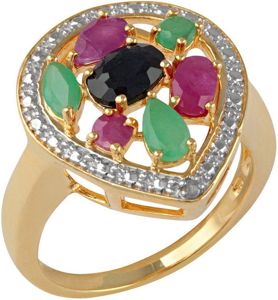 vivance jewels Ring mit Rubinen, Saphiren und Smaragden in Silber 925-goldfarben vergoldet-rot-schwarz-grün