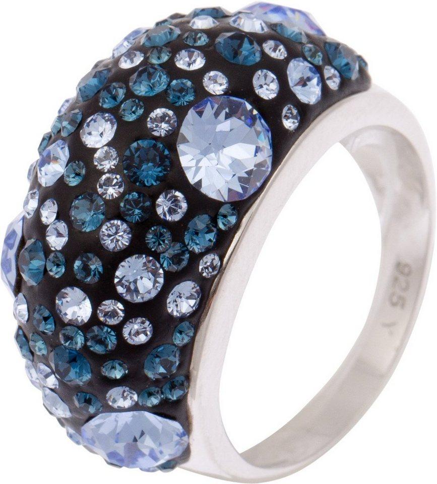 firetti Ring mit Kristallsteinen in Silber 925-blau