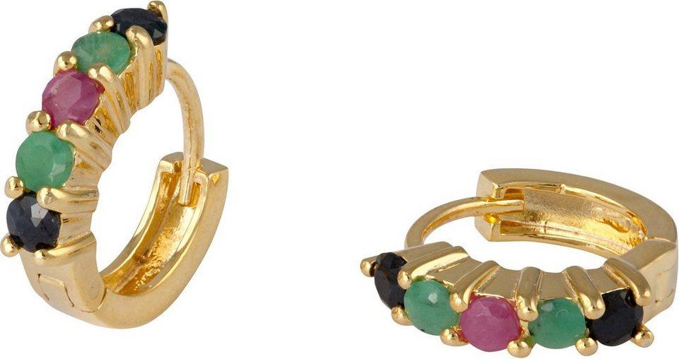 vivance jewels Paar Creolen mit Rubinen, Saphiren und Smaragden in Silber 925-goldfarben vergoldet-rot-schwarz-grün
