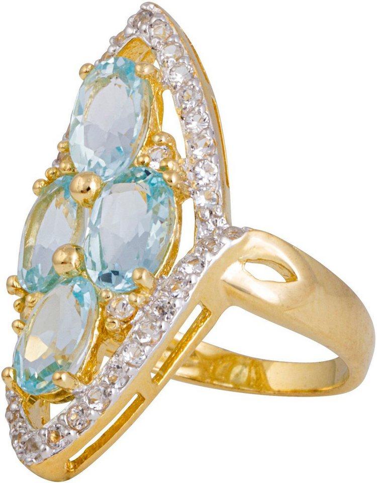 firetti Ring mit Topasen in Silber 925-goldfarben vergoldet-blau