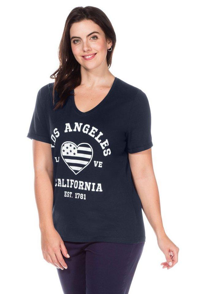 sheego Casual T-Shirt mit modischem Druck in marine