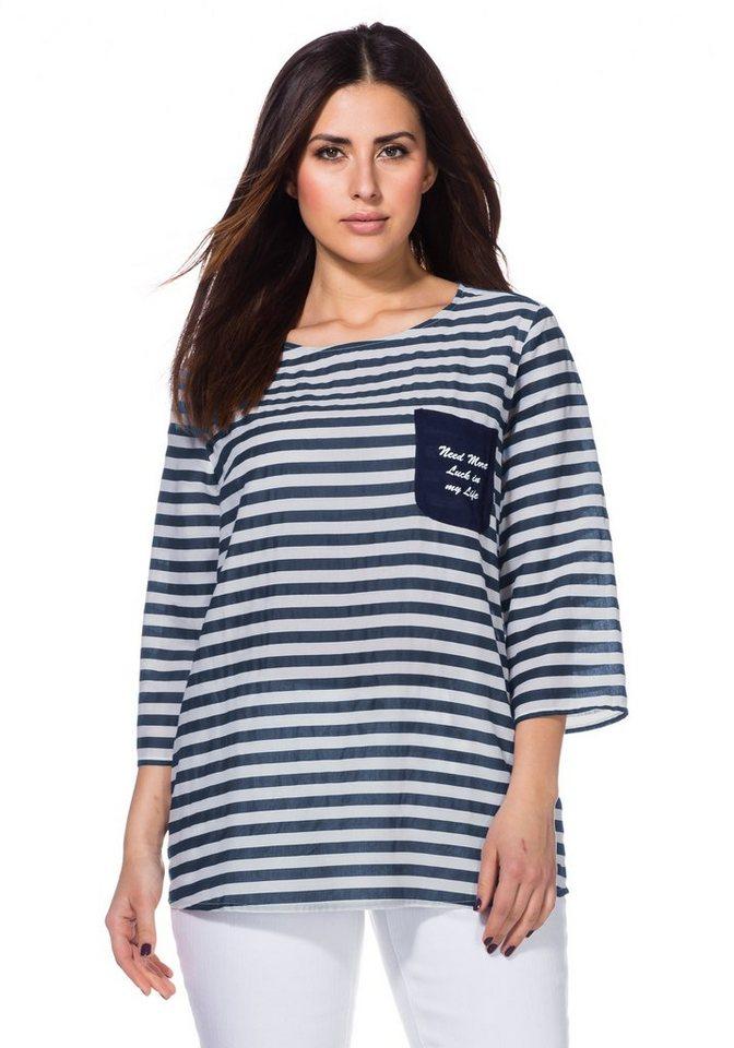 sheego Trend Blusenshirt in marine gestreift