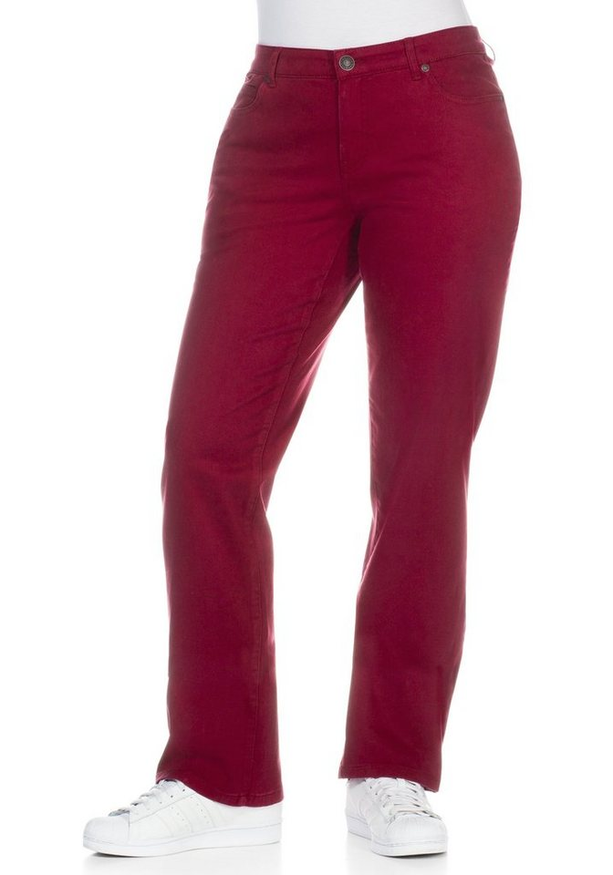 sheego Casual Gerade Stretch-Hose in bordeaux