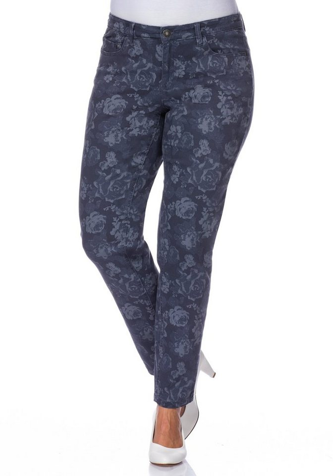 sheego Style Schmale Stretch-Hose in blue printed