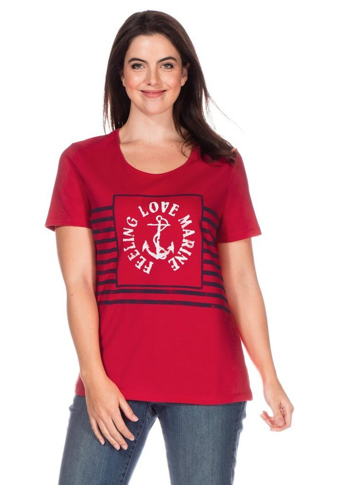 sheego Casual T-Shirt in tomatenrot