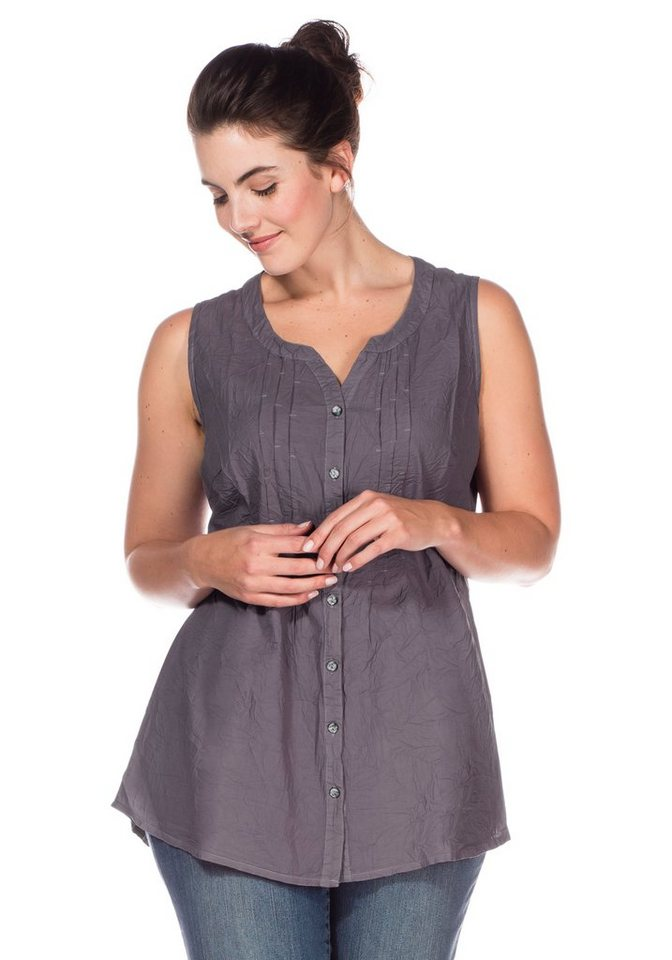 sheego Casual Bluse in Crinkle-Optik in grau