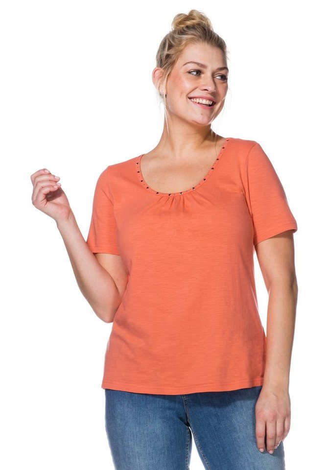 sheego Casual Leichtes Shirt in koralle