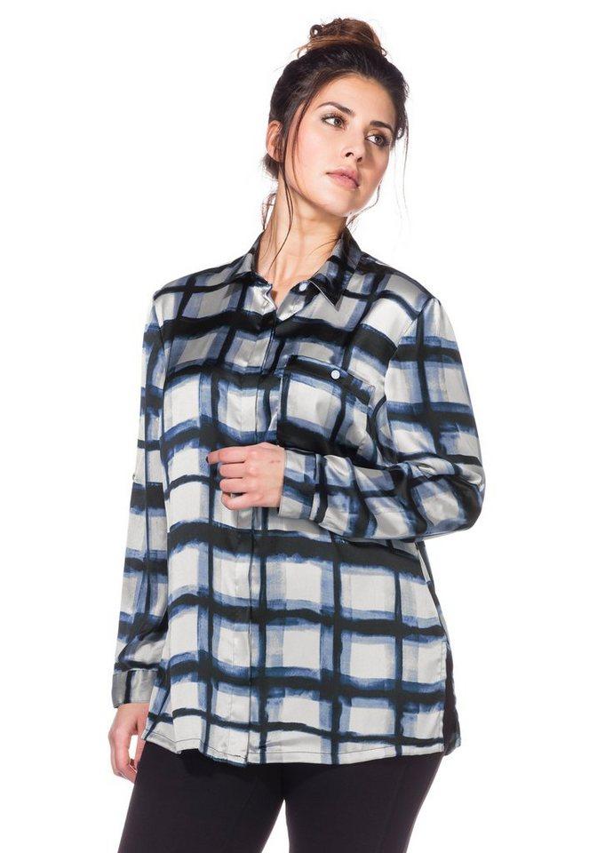 sheego Trend Bluse mit krempelbaren Ärmeln in dunkelblau kariert
