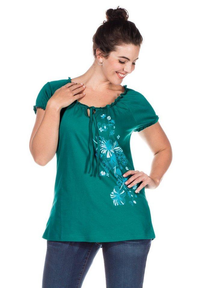 sheego Casual T-Shirt mit floralem Frontdruck in meergrün