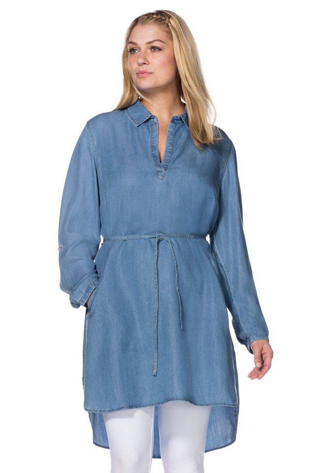 sheego Denim Jeanskleid mit Bindegürtel in blue Denim
