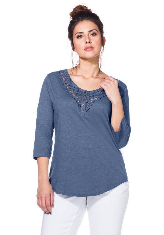 sheego Trend 3/4-Armshirt mit Spitze in blau