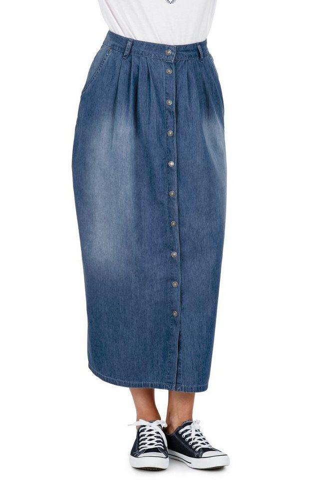 sheego Trend Maxi-Jeansrock in blue denim
