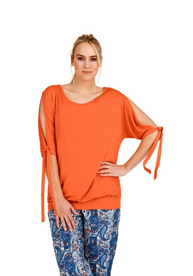 sheego Trend Shirt mit Cut-Out in papaya