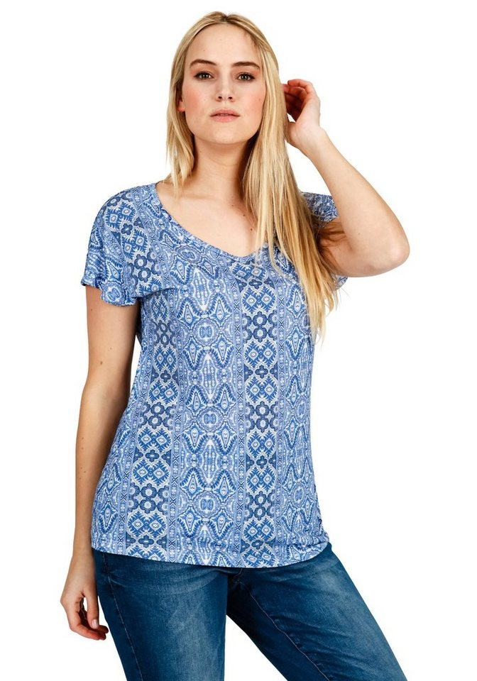 sheego Trend T-Shirt in weiß-ozeanblau