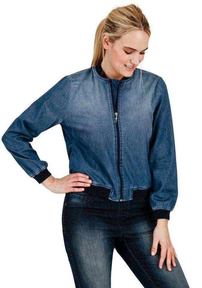 sheego Trend Jeansblouson in blue denim
