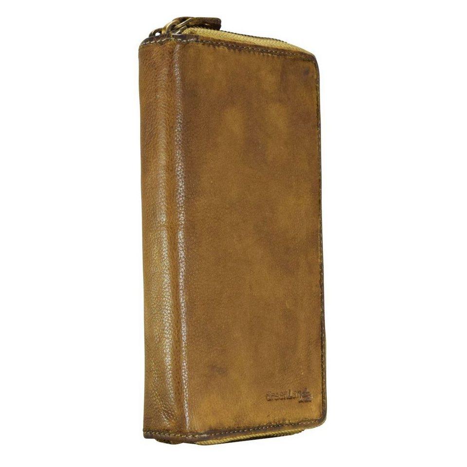 GREENLAND Soft Bags Ladies Wallet Geldbörse Leder 19 cm in gelbbraun