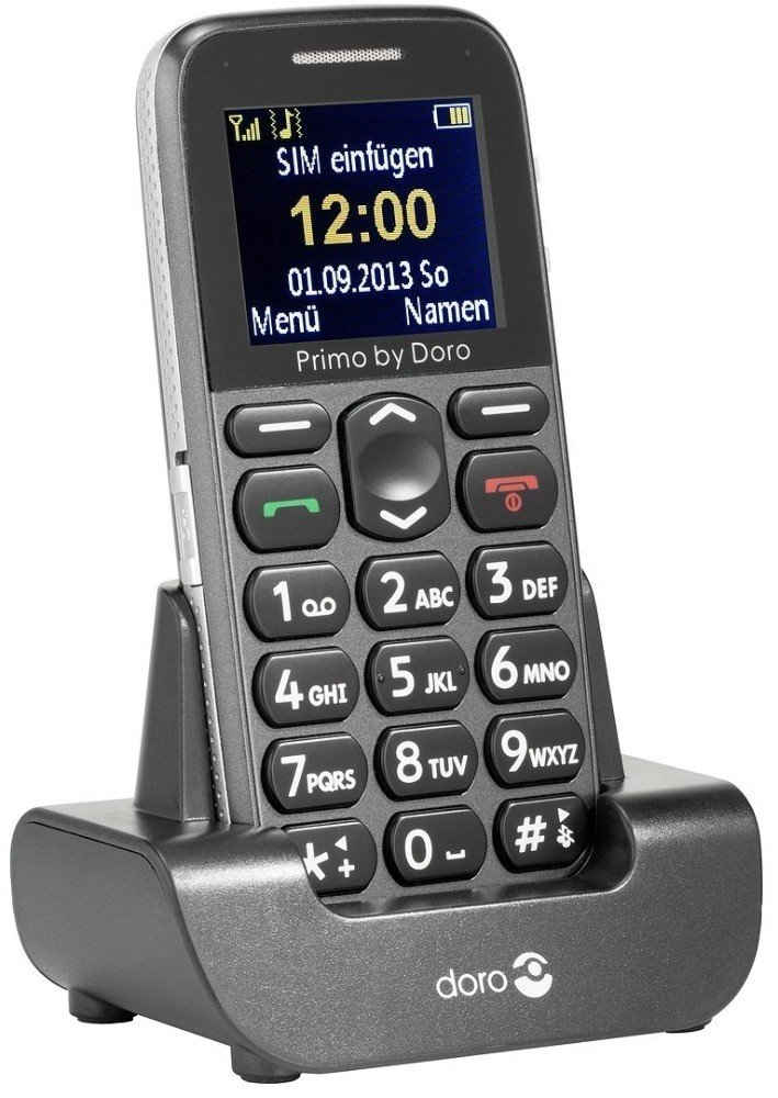 Primo PRIMO BY DORO 215 Senioren Handy anthrazit Seniorenhandy (4.32 cm/1,7 Zoll, 1 MP Kamera, Farbdisplay, Notruftaste, Große Tasten, SOS, Tischladestation)