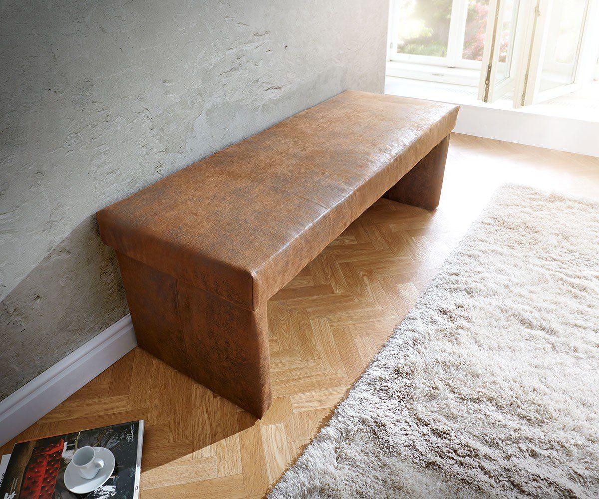 DELIFE Polsterbank Olav Braun 140x53 cm Antik Optik Sitzbank