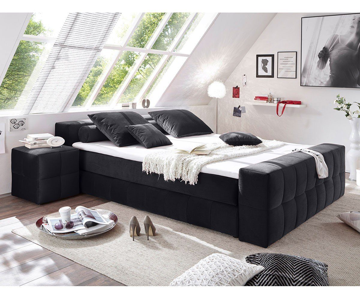 DELIFE Bett Libreville Schwarz 180x200 cm mit Matratze und Topper