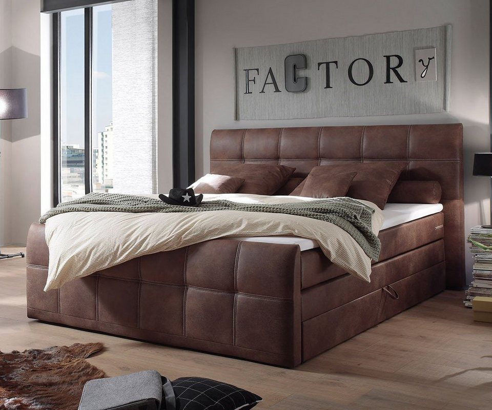 delife bett amarillo braun 180x200 cm mit matratze und topper online kaufen otto. Black Bedroom Furniture Sets. Home Design Ideas