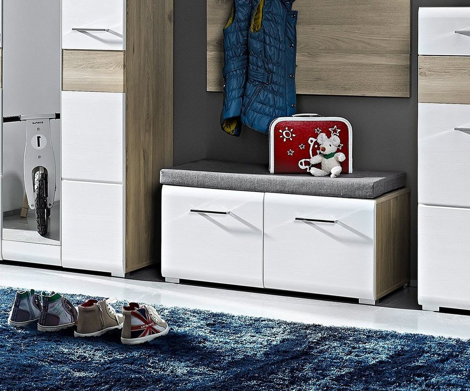 DELIFE Sitzbank Abaz Weiss Eiche-Optik 84x40 cm 2 Türen Kissen in Weiß
