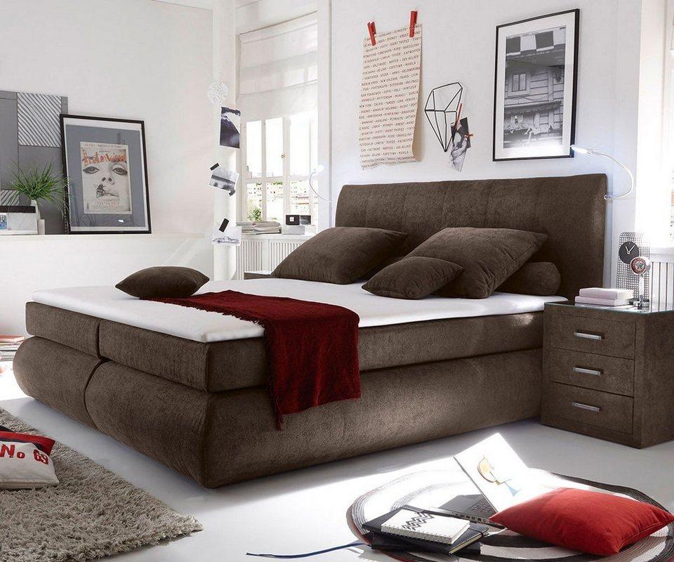 delife bett devonport braun 180x200 cm mit matratze und topper online kaufen otto. Black Bedroom Furniture Sets. Home Design Ideas
