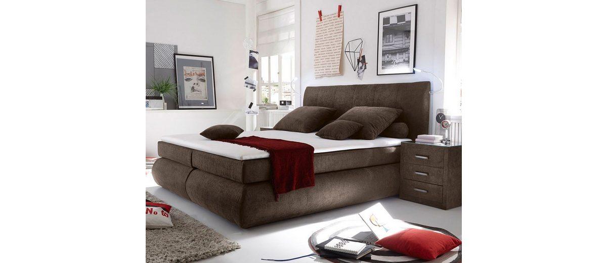 DELIFE Bett Devonport Braun 180x200 cm mit Matratze und Topper