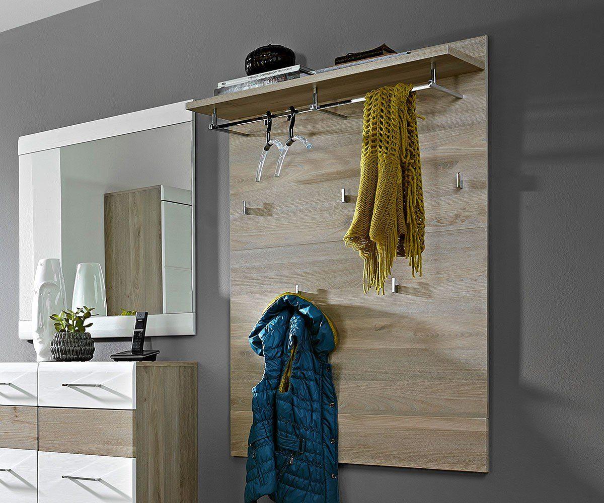 DELIFE Garderobenpaneel Abaz Eiche Optik 84 cm mit 5 Haken