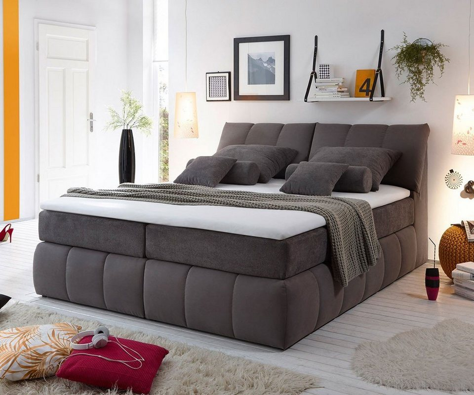 delife bett brasilia grau 180x200 cm bett brasilia grau. Black Bedroom Furniture Sets. Home Design Ideas